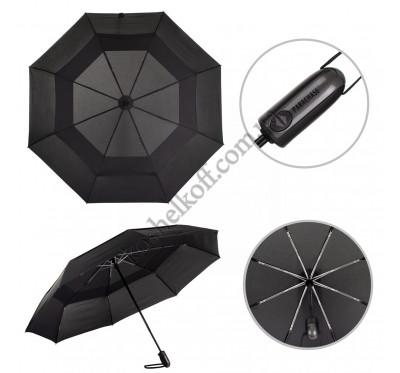 Зонт мужской складной с большим куполом полный автомат антиветер Parachase 3203 black