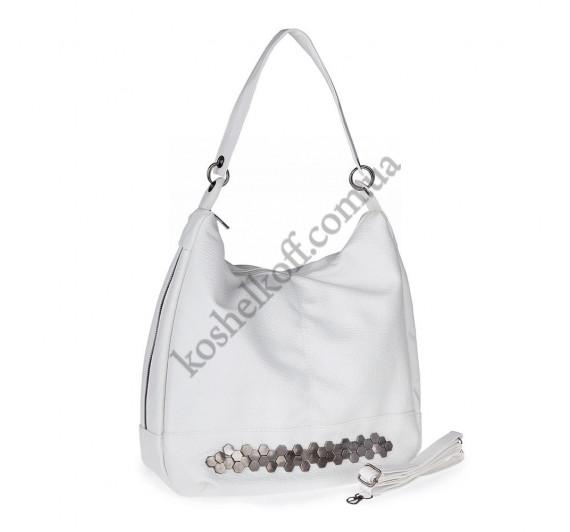 Женская сумка через плечо белая 5605 B-R-N (Турция)