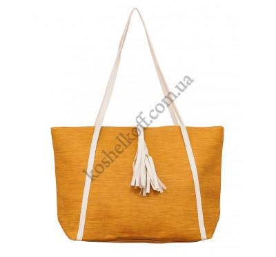 Женская вместительная  сумка P142 песочная