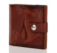 """Кожний маленький гаманець портмоне жіночий ручної роботи KAFA """"Кішки"""" коричневий (2615)"""