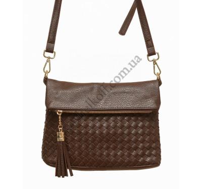 Женская плетеная сумка через плечо 5511 (коричневая)